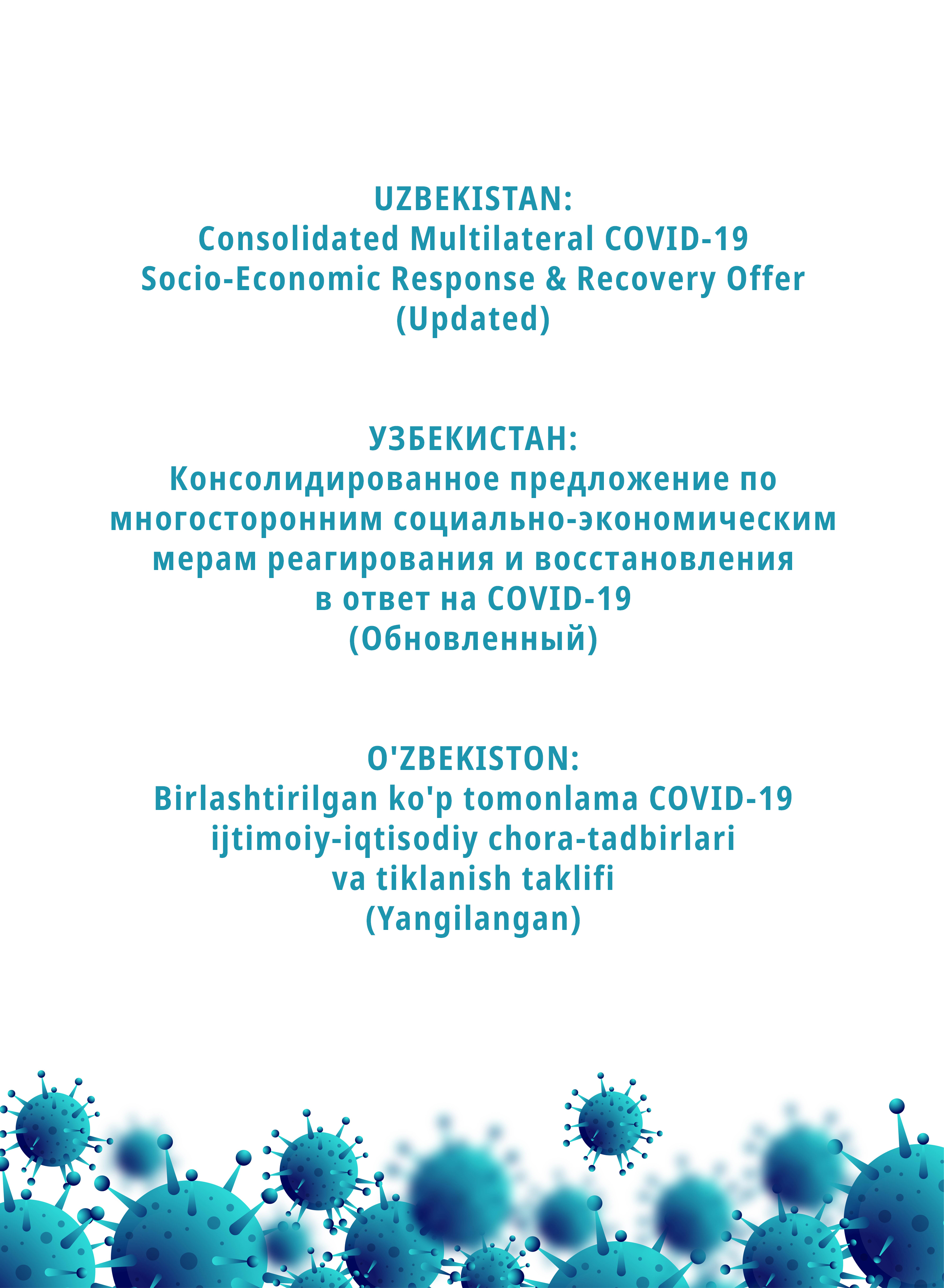 Update on Consolidated Multilateral COVID-19 Socio-Economic Response & Recovery Offer for Uzbekistan