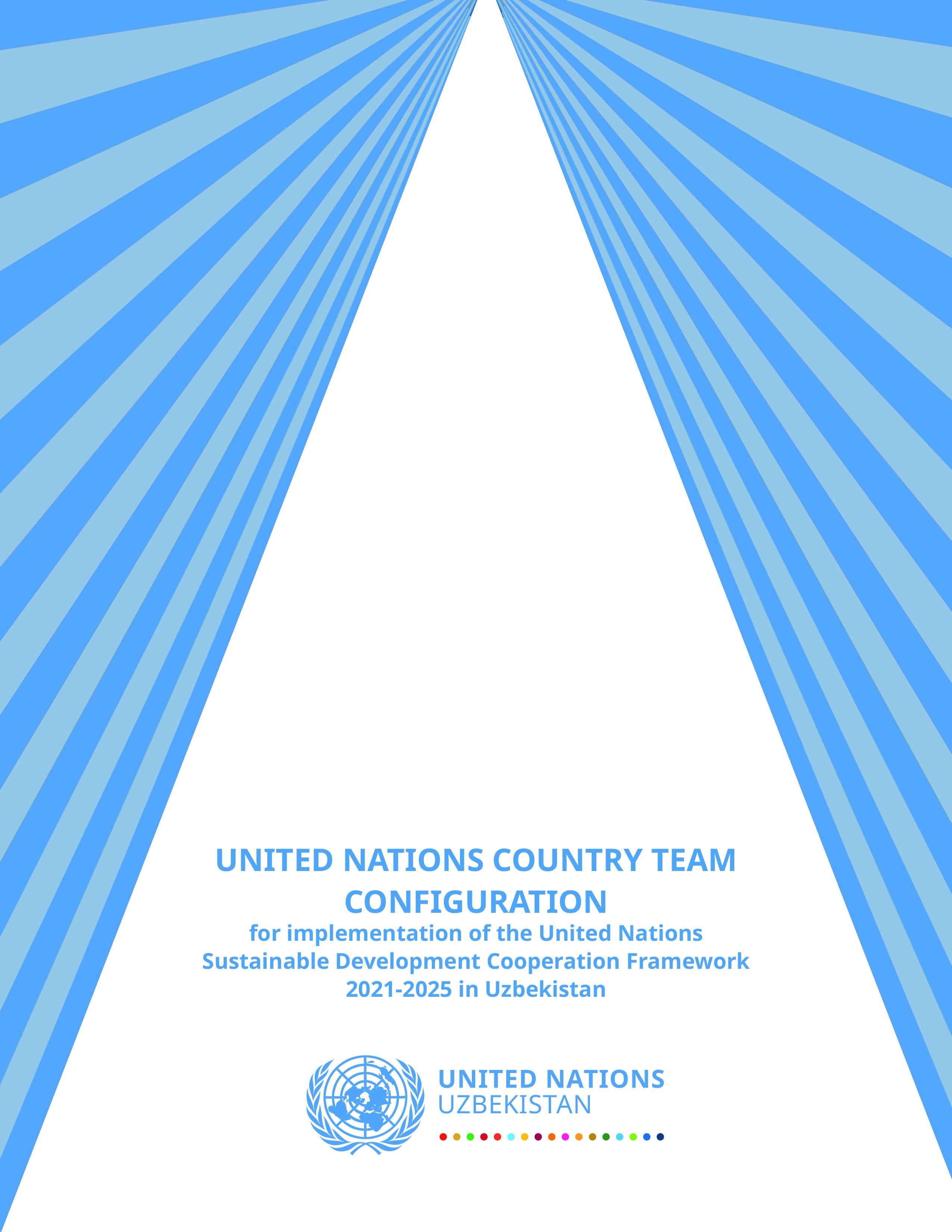 Конфигурация Страновой команды ООН для реализации Рамочной программы сотрудничества ООН в целях устойчивого развития на 2021-2025 годы в Узбекистане